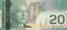 Canadian Banknotes 20 Dollar Bill 2004 Her Majesty Queen Elizabeth II Canadian Coins, Canadian Dollar, Elizabeth Ii, Fun Facts About Canada, One Dollar, Learning Activities, The Twenties, World, Photos