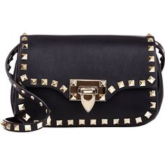 Valentino Rockstud Small Crossbody Bag ($1,495) ❤ liked on Polyvore featuring bags, handbags, shoulder bags, bolsas, bolsos, accessories, black, black purse, leather shoulder bag y leather crossbody