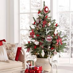 Bold, Red Christmas Tree - Love the classic colors of this small tree - and the pot it is in.