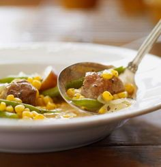 Vegetable-Pork Oven Stew: potatoes, green beans, corn and onions fill this chunky stew.  More soups and stews: http://www.midwestliving.com/food/soups/simmering-soups-stews-recipes/page/31/0