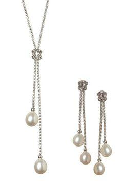 7.5-8mm White Freshwater Pearl Dangling Necklace & Earrings Set on HauteLook