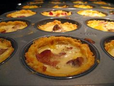 I've used this recipe to make mini ones, baked in a muffin pan. The crust should be sufficient for tartlets while each of the. Quiche Recipes, Egg Recipes, Cooking Recipes, Easy Quiche, How To Read A Recipe, Good Food, Yummy Food, Food Menu, Food For Thought