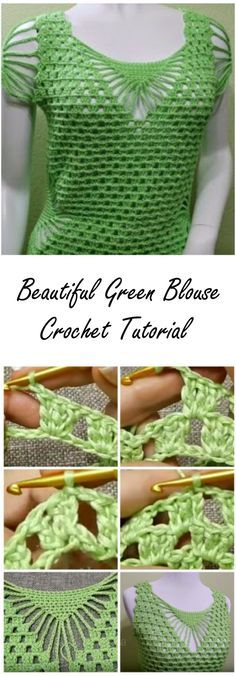 Beautiful Green Blouse Crochet Tutorials - ilove-crochet