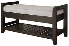 The Turino storage bench is constructed of solid wood with durable MDF panels and durable upholstered cushion. A lower slatted shelf adds extra storage space. Place the Turino bench in a hallway, or bedroom for added convenience and function. Extra Storage Space, Bench With Storage, Storage Spaces, Slatted Shelves, Accent Bench, Shoe Bench, Cushion Pads, New Homes, Cushions