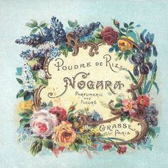 vintage perfume label -- beautiful floral border -- iris, larkspur, lily of the valley, roses of course. Going to photoshop out the writing, print on silk, and embroider the flowers. Would be a lovely small frame or use as a necklace/ locket. (NCS)