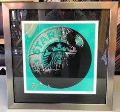 ☕️ Star Wars | Starbucks by Mr. Clever. #art #pictureframing #customframing #denver #colorado #starwars #starbucks #deathstar #mrclever