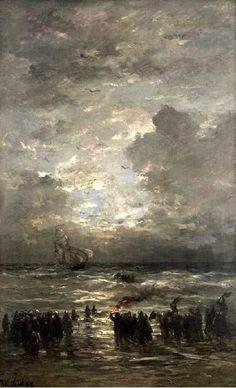 Hendrik Willem Mesdag (1831-1915) Stormachtig weer en een schipbreuk.