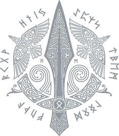 Gungnir:Also known as: Gar, Spear of Odin, Sword of Odin The Norse Runeletter G. - Gungnir:Also known as: Gar, Spear of Odin, Sword of Odin The Norse Runeletter G. Norse Runes, Norse Pagan, Celtic Symbols, Celtic Art, Mayan Symbols, Egyptian Symbols, Ancient Symbols, Norse Mythology Tattoo, Norse Tattoo
