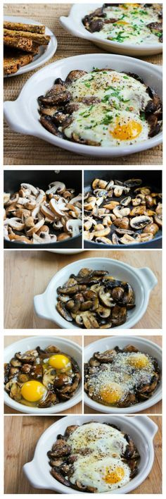 If you're looking for an easy breakfast for Valentine's Day morning that's also got kind of a WOW factor, these Baked Eggs with Mushrooms and Parmesan are quick and delicious. [from KalynsKitchen.com]