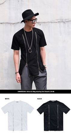 Tops :: Tees :: Double Front Zip Round-Tee 757 - Mens Fashion Clothing For An Attractive Guy Look