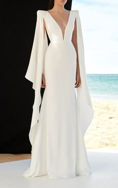White Cassine Draped Sleeve Satin Crepe Gown by Alex Perry