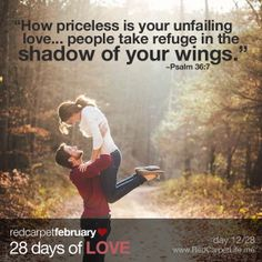 """Day 12/28: """"How priceless is your unfailing love, O God! People take refuge in the shadow of your wings."""" ~Psalm 36:7   http://cindyk.me/1g7wbEd   #Love #RedCarpetLife #28DaysOfLove"""
