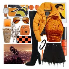 """""""Orange and Black"""" by iandcheshirecat ❤ liked on Polyvore featuring Wyld Home, Ippolita, NYX, Gianvito Rossi, Ksubi, Burberry, COSTUME NATIONAL, Secret Service Beauty, Ted Baker and black"""