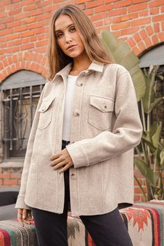 "Cozy on up while staying in style with the Lulus In With the New Beige Shacket! Medium-weight fabric has a wool-like feel as it shapes this shirt-inspired jacket that has a collared neckline and long sleeves with button cuffs. The slightly oversized bodice has a functional button placket down the center, seam detailing, and two buttoning flap pockets. Fit: This garment fits true to size. Length:  Size small measures 28.25"" from shoulder to hem. Bust: Great for any cup size. Waist: Not Fitted… Satin Material, Cute Jackets, Jacket Style, Shirt Jacket, Outerwear Jackets, Button Up Shirts, How To Look Better, Beige, Long Sleeve"