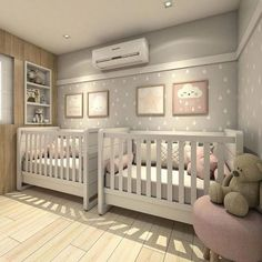 Outstanding baby nursery detail are offered on our website. Have a look and you wont be sorry you did. Twin Baby Rooms, Twin Baby Girls, Baby Bedroom, Baby Room Decor, Twin Room, Nursery Twins, Nursery Room, Small Twin Nursery, Twin Nursery Gender Neutral