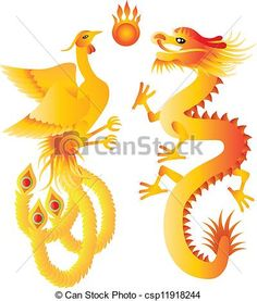 Vector - Dragon and Phoenix Symbols Illustration - stock illustration, royalty free illustrations, stock clip art icon, stock clipart icons, logo, line art, EPS picture, pictures, graphic, graphics, drawing, drawings, vector image, artwork, EPS vector art