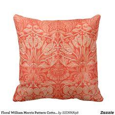 Floral William Morris Pattern Cotton Throw Pillow