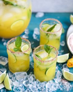 """Join 12 people right now at """"Minty Mango Margarita Punch. (Plus, tons of Cinco de Mayo Recipes! Mango Margarita, Margarita Punch, Summer Drinks, Cocktail Drinks, Cocktail Recipes, Cocktails, Drink Recipes, Fancy Drinks, Tequila Soda"""