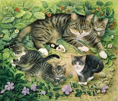 Artwork by Lesley Anne Ivory. #cats #art #cute
