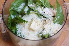 Skinny Basil Pesto | Skinnytaste  Ingredients:  1 cup basil  1 clove garlic  1/4 cup grated parmesan  salt & pepper to taste  2 1/2 tbsp olive oil