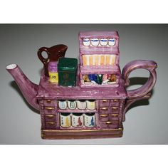 Collectible Tea Cart Teapot Vintage Purple ($20) ❤ liked on Polyvore featuring home, kitchen & dining, teapots, gold bar cart, vintage serving cart, gold teapot, vintage bar cart and vintage teapots