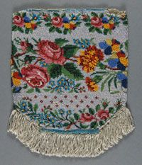 Woman's Beaded Bag    Made in United States  Mid- 19th century    Artist/maker unknown, American    Knitted and beaded  7 7/8 x 6 1/2 inches (20 x 16.5 cm)