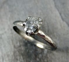 Diamond in the rough Raw Rough UnCut Diamond Engagement Ring Rough Diamond Solitaire 14k white gold Conflict Free Diamond Wedding Promise byAngeline by byAngeline on Etsy