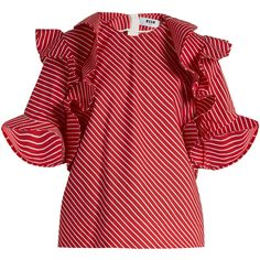 MSGM Ruffle-trimmed striped cotton top ($301) ❤ liked on Polyvore featuring tops, loose fitting tops, flutter-sleeve top, cut loose tops, loose fit tops and red striped top