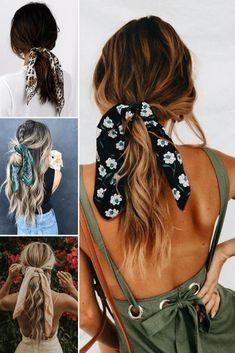 Bandana Hairstyles, Chic Hairstyles, Summer Hairstyles, Wavy Medium Hairstyles, Hairstyles With Headbands, Running Late Hairstyles, Simple Hairstyles, Hair Scarf Styles, Short Hair Styles
