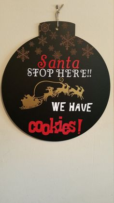 Santa STOP here WALL HANGING by TopofTheCakes on Etsy