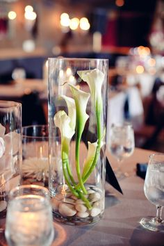 calla lilies in tall cylindrical vases