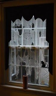 DIY spooky Halloween curtains. Cool effect.