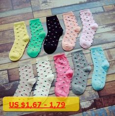 10 Colors Autumn Winter New Colorful Long Girl Sock Loving Heart For Women Cotton Warm Socks Breathable Absorbent Size 35-40
