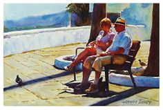 """Holiday couple by Graham Berry Watercolor ~ 12"""" x 18"""""""