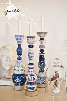 Inspiration for Upcycling - Dot Com Women Upcycle old china to make interesting candlesticks Recycled Crafts, Diy And Crafts, Arts And Crafts, Glass Garden Art, Glass Art, Diy Recycling, Teacup Crafts, China Crafts, Candle Making