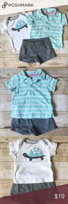 Blue Striped Polo & grey shorts Stylish outfit for a little boy includes a pair of grey shorts paired with a beautiful blue polo! Carter's Matching Sets