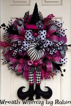 Halloween Pink & Black Deco Mesh Witch Wreath, Fall Wreath, XL Witch Wreath…