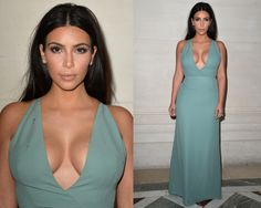 I'm not a big Kim Kardshian fan but this color is beautiful on her… WOW ! Kim Kardashian Valentino Couture Fall 2014 Front Row