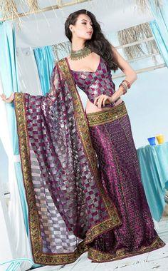 Passionate Purple Art Silk Lehenga Style Saree with Blouse