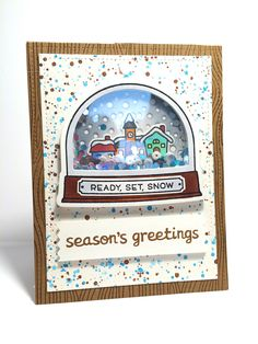 Ready, Set, Snow shaker card using shaker add-on dies - Lawn Fawn
