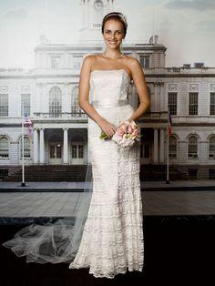 David's Bridal Beaded lace trumpet dress