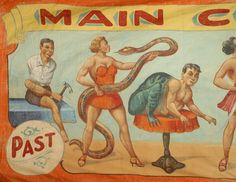 American Country textile/rugs circus banner painted