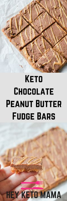 These Keto Chocolate Peanut Butter Fudge Bars are an easy to make indulgence that will satisfy your sweet tooth in a guilt free way. | heyketomama.com