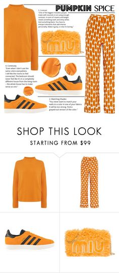 """Monochrome: Pumpkin Spice"" by katerin4e-d ❤ liked on Polyvore featuring HUGO, Tory Burch and adidas Originals"