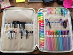 "studyblrlawblr: "" mermaids-dont-do-homewrk: "" I finally got all of my pens to fit in one bag. It's the A4 size better together organizer. You're looking at approximately 135 pens and highlighters. "" Looks like heaven to me """