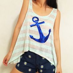 For Sale: Sequin Anchor Striped Mint Top for $16