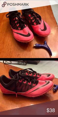 Nike Track Spike Shoes Pink/black Nike Track shoes. Has bag, spike changer and shoes ..in great condition! Nike Shoes Athletic Shoes