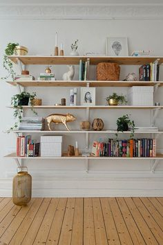 34 Different Home Accessories , Wooden Wall Shelves, Bookcase Shelves, Living Room Inspiration, Home Living Room, Home Accessories, Sweet Home, New Homes, Room Decor, House Design