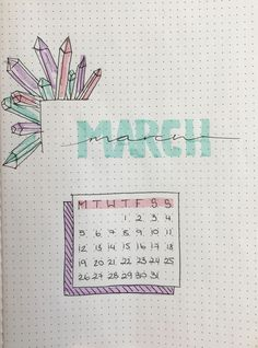 Bullet journal March title page