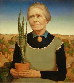 1929 Grant Wood (American regionalist artist, 1891-1942) Woman with Plants (the artist's mother)